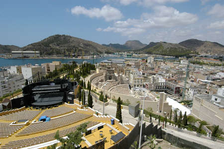 CARTAGENA, SPAIN - Jul 12, 2008: A high angle shot of the famous Roman Theatre of the Archaeological Museum in Cartagena