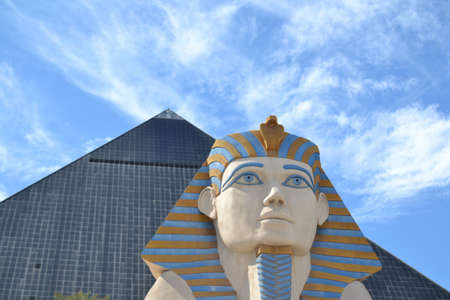 A low angle shot of Pyramid and Spinx in Luxor, Las Vegas under the beautiful cloudy sky