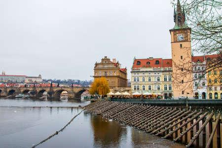 A beautiful shot of the Vltava river on Prague's cityscape background in Czech Republic