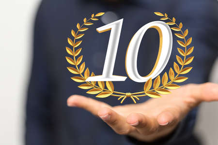 10 Anniversary 3d numbers. Poster template for Celebrating 20 anniversary event party