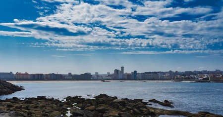 A panoramic view of the city on the body of the sea at Coruna, Spain