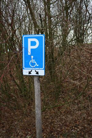 A vertical shot of a handicap parking sign