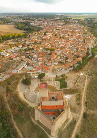 An aerial vertical shot of buildings in Arevalo, Avila, Spain