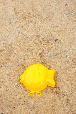 A top view of a toy fish mold on sand