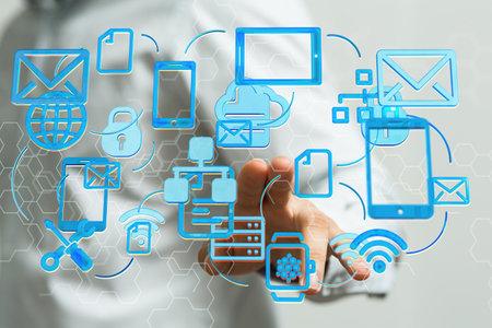 Data transmission channel. Motion of digital data flow. Transferring of big data