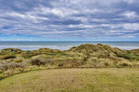 The simple coastal study at Foxton Beach in New Zealand Stock Photo