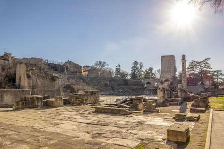 The Arles Amphitheatre under the sunlight at daytime in Arles in France