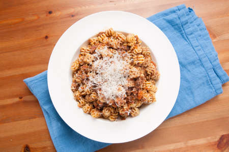 radiatori pasta with meat sauce