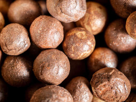 A closeup shot of brown clay balls used as growing medium for plants