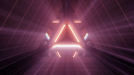 A 3D rendering of brightly glowing lights in triangular shapes behind each other