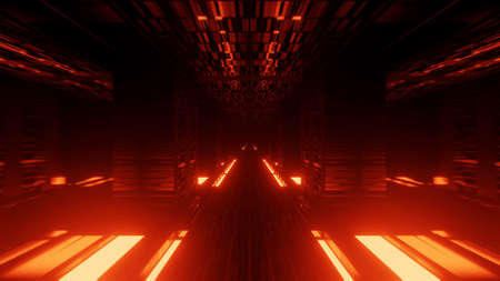 3D rendering abstract futuristic background with a glowing neon orange lights