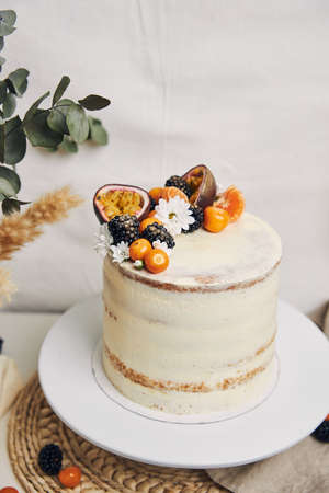 A white cake with berries and passionfruits next to a plant behind a white background 免版税图像