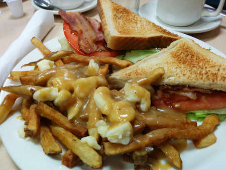 A closeup shot of delicious bacon, lettuce, and tomato sandwichs with Poutine