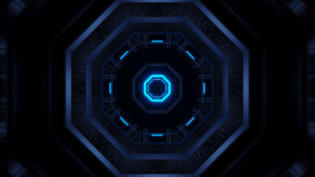 A cool illustration of geometric shapes with blue laser lights - great for wallpapers and backgrounds