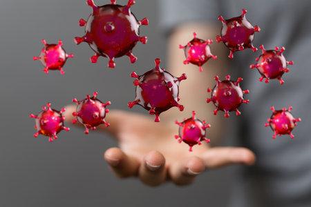 mikro digital epidemic corona virus nCoV , Novel Coronavirus 19-NCP. nCoV denoted is single-stranded RNA virus 3d 免版税图像