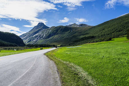 A road surrounded by mountains covered in greenery under the sunlight in Norway