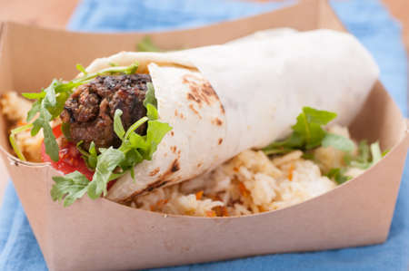 lamb kofte or gyro with sweet rice