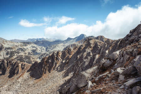 A high angle view of the rocks at the Pirin mountain in southwestern Bulgaria