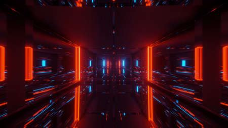 A cosmic background with orange, red and blue laser lights - perfect for a digital wallpaper 免版税图像