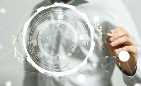A businessman presenting the virtual projection of a cyberspace Zdjęcie Seryjne