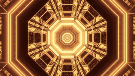 A vivid abstract psychedelic octagon corridor pattern for background with gold and brown colors 免版税图像
