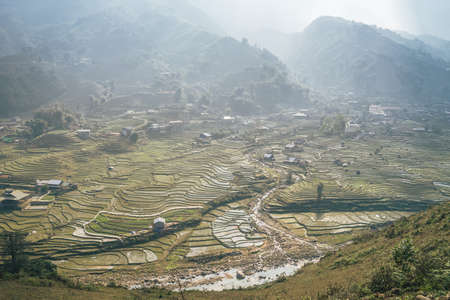 The beautiful landscape of Sa Pa, Lao Cai, Vietnam.