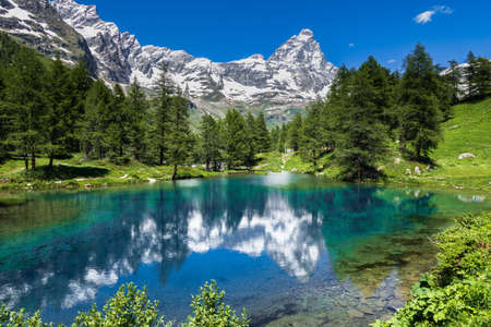 A landscape with the Matterhorn on the background and Breuil-Cervinia in Aosta Valley northern Italy
