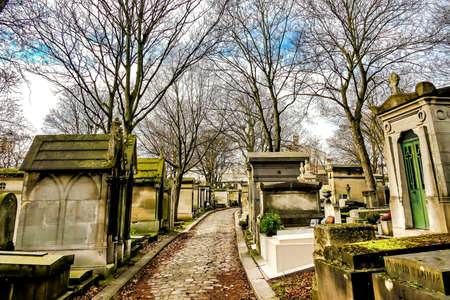 A pathway in the middle of graves surrounded by trees