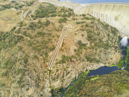 An aerial shot of the Almendra Dam in Salamanca, Spain