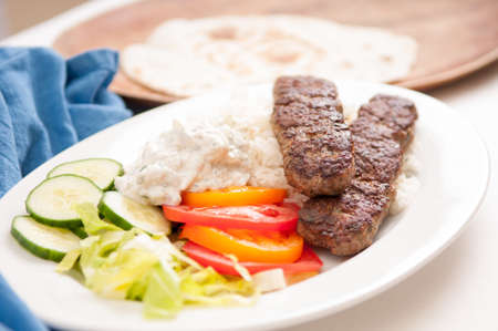 koobideh ground lamb with rice and vegetables, Stock Photo