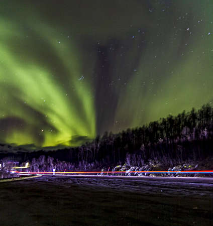 A low angle sot of green Aurora Borealis in Norway - perfect for background