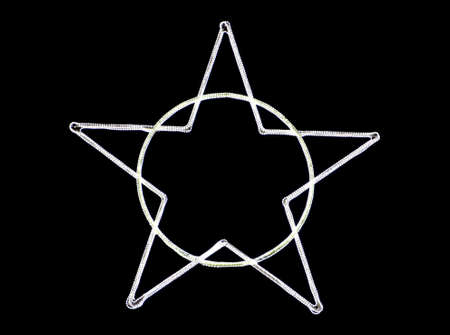 An illuminated star shape on a circle against a black background - cool for wallpapers