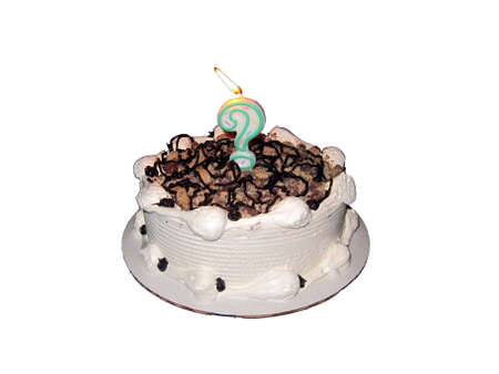 White ice cream cake with chocolate syrup decoration, white frosting, with dark swirls. Question mark candle in middle, burning. Isolated on white, copy space