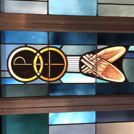 BILOXI, UNITED STATES - Jun 14, 2019: Stained Glass window representation of Holy Matrimony taken in Sacred Heart Church. 에디토리얼