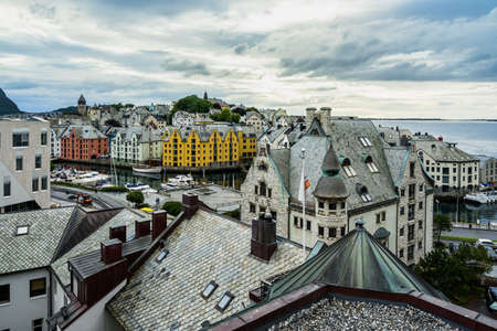 A high angle view of Alesund typical Art Nouveau buildings in Norway