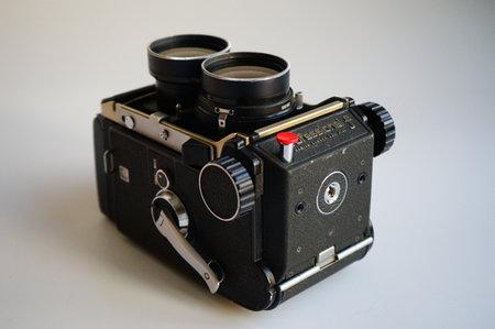 BUCURESTI, ROMANIA - Mar 15, 2020: old vintage Mamiya C3 C330 photo film camera and lens