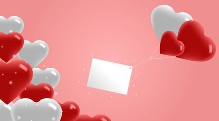 Valentines Day Background. Flying Balloons with Greeting Card. 3d White and Red Heart Shaped Balloons