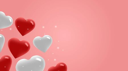 Valentines Day Background with 3d White and Red Heart Shaped Balloons