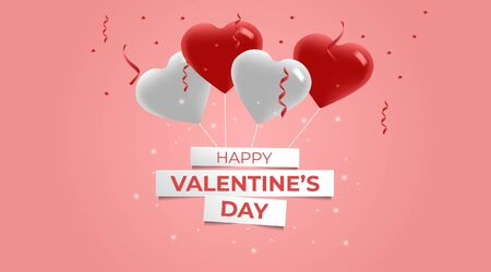 Valentines Day Background. Flying Balloons. 3d White and Red Heart Shaped Balloons