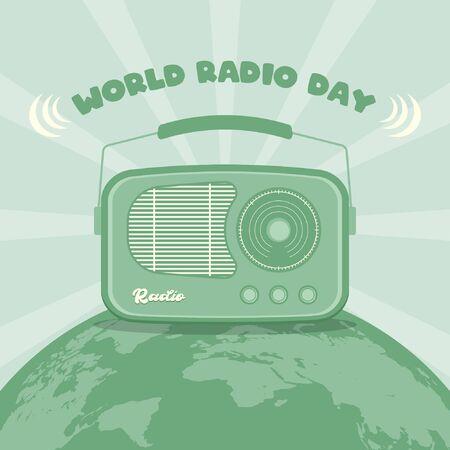 February 13. World Radio Day Background. Radio on Globe. Retro Vintage Illustration Stock Illustratie