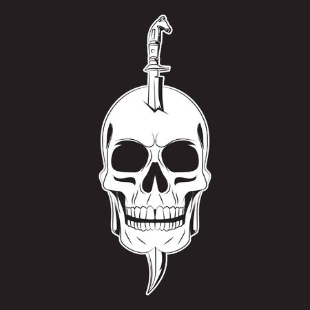 sword pierce on skull tattoo. skull  . vector illustration