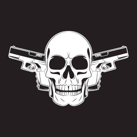 skull and two gun tattoo. skull  . vector illustration  イラスト・ベクター素材