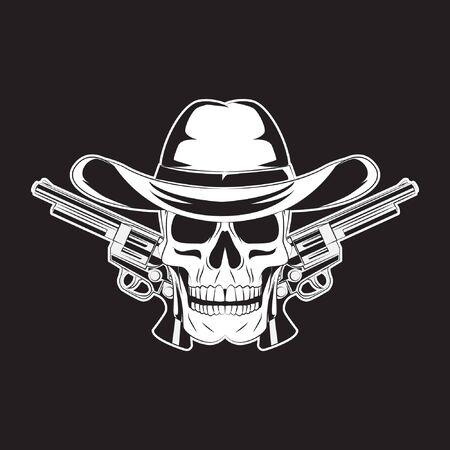 cowboy skull and two gun. skull  . vector illustration