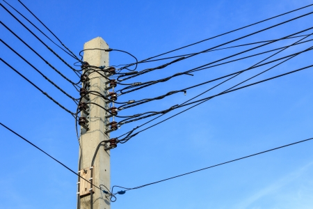 telegraphs: Electric pole with wire at the conner