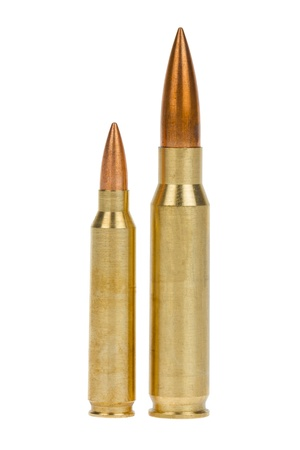 bullet: Two rifle bullets over white background