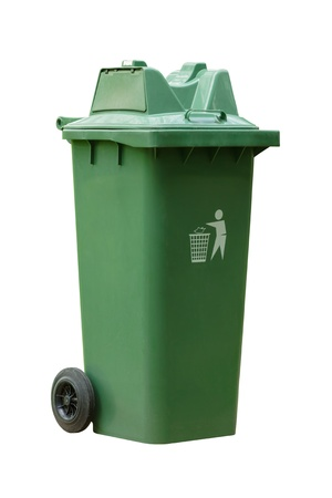 garbage bin: Large outdoor green garbage bin on white background