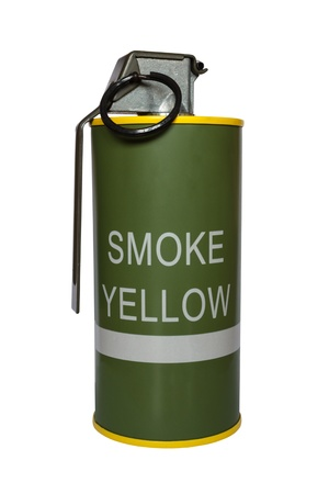 Yellow smoke grenade m18 on white background photo