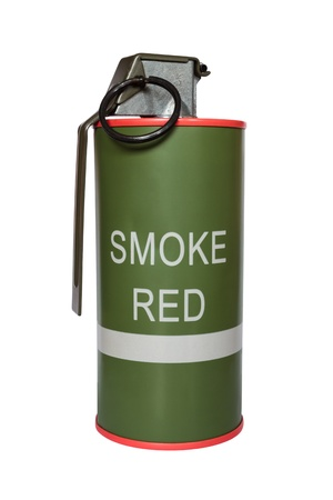 Red smoke grenade m18 on white background photo