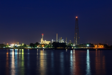 Oil refinery with chimney at twilight photo