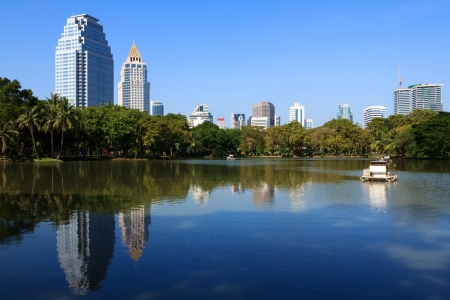 Business district cityscape from a park with blue sky Stock Photo - 18196082